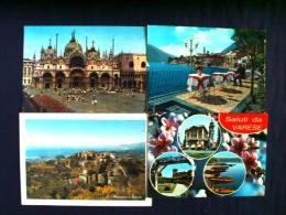 4 Postcards Italy - Church Beach Boats Flowers Restaurant - Venezia Seborga Varese Lago Di Garda - Italy