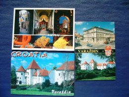3 Postcards Croatia - Rovinj Varazdin - Church Sea Fish Coral Castle Cars Arms - Croatia