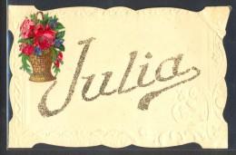 NH012 Prénom JULIA CHROMO Découpis CORBEILLE De ROSES PAILLETTES - Firstnames