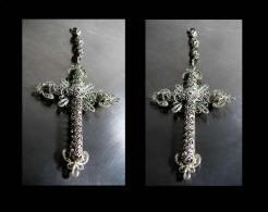 Magnifique Croix Tsigane Ancienne XIXème /  Old Gipsy Gold-platted Silver Filigree Cross Pendent - Pendants