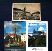 3 Postcards Czech Rep - Olomouc Praha Prachatice (1956) - City Hall Statue Church - Czech Republic