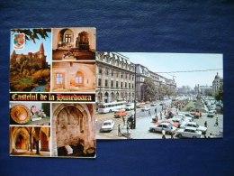 2 Postcards Romania - Bucarest - Hunedoara Castle - History - Street Bus Cars Statue Crane - Romania