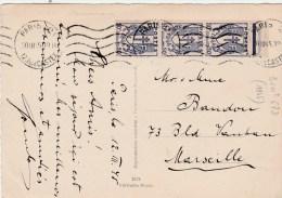 CHAINES BRISEES 50C BANDE DE 3 SUR CPA AU TARIF PARIS 20/3/45 POUR MARSEILLE                   TDA3 - 1921-1960: Modern Period
