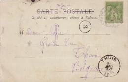 SAGE - 5c SEUL SUR CARTE POSTALE DE PARIS POUR LA BELGIQUE LE 25-1-1901. - Postmark Collection (Covers)