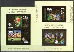 GUINEE EQUATORIALE - MUNICH - GOLD  3xBL  IMPERF. - **MNH - 1974 - Fußball-Weltmeisterschaft