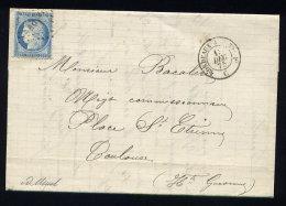 Lettre D'Agen Pour Toulouse 1875 Cachet Ambulant TC1° - Marcophilie (Lettres)