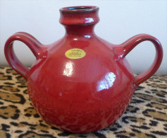 Vintage Pottery Topferhof Keramik Handmade DDR Romhild Decor Red VASE No. 1 - Heavy - Ceramics & Pottery