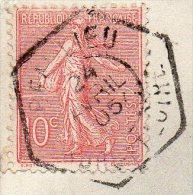 Cachet Manuel Héxagonal Recette Auxiliaire Urbaine Type C2 Indre Et Loire BEAULIEU (les Loches) 1905 Sur CPA - Postmark Collection (Covers)