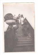 RP  SAID TO BE GOLD COAST Ghana NATIVES WALKING UP A VERY STEEP STEP BRIDGE OVER A RIVER ? UNUSED  CARD 7 OF 7 - Ghana - Gold Coast
