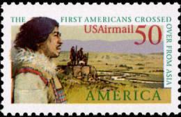 1991 USA Air Mail Stamp Pre-Columbian America Bering Land Bridge Sc#c131 Post History Aboriginal - Storia