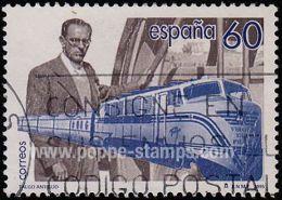 Spain, Sc , SG 3319 Study, Hinged - 1995 60p.  - Trains, Railway, Anniversary, Inventors, Birth - España