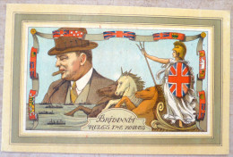 Militaria Litho Britannia Rules The Waves Portrait Caricature Churchill Femme Guerriere Trident Chevaux Licorne - Personnages
