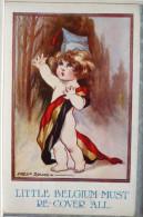 RARE Militaria Litho A & H Illustrateur FRED SPURGIN LITTLE COMRADES N° 355 Enfant Bébé Nu Dans Drapeau Belge Belgique - Spurgin, Fred