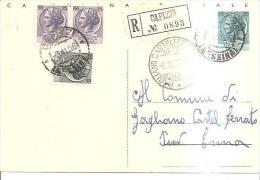 80943)cartolina Postale Raccomandata:con Affra 3valori15+15+5  Da Capizzi A Gagliano Castelferrato 6-11-56 - 6. 1946-.. Repubblica
