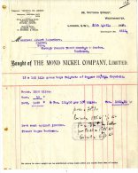 WESTMINSTER  -  LONDON  -  1922  -  THE MOND NICKEL COMPANY - Royaume-Uni
