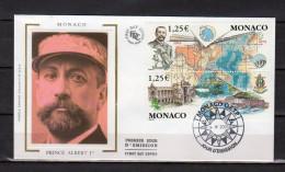"""MONACO FDC En Soie De 2003 N° YT 2391 92 """"100 ANS DE LA GEBCO / PRINCE ALBERT 1er / MUSEE OCEANOGRAPHIQUE"""" Parfait état - FDC"""