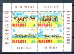 BARBADOS BLOCK 4v 1969 HORSE RACING HORSES JOCKEY * MNH - Barbados (1966-...)