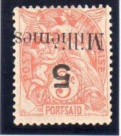 PORT-SAID : N° 38a * . 1921/23 .SURCH RENVERSÉE . TB . SIGNE CALVES . - Neufs