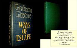 """""""WAYS Of ESCAPE"""" Graham GREENE Autobiography Autobiograpie 1st Edition BODLEY E.O 1980 + Jacket ! - Journaux Intimes Et Correspondance"""