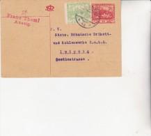 TCHECOSLOVAQUIE -ENTIER POSTAL 1919-AVEC COMPLEMENT D'AFFRANCHISSEMENT N°3 NON DENTELE - Czechoslovakia