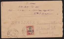 INDOCHINE+  CHINE.  TIMBRE INDOCHINE SURCH. CANTON SUR LETTRE 1928 POUR  INDE   Réf  7777 - Covers & Documents