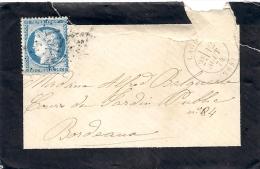 (25)- Date :12 Août 1874- ...... /  Bordeaux - Faire Part De Deuil - Y.T.N° 60.A - Poststempel (Briefe)