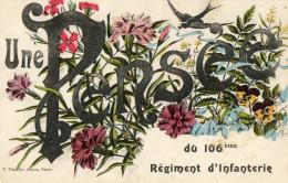 CHALONS SUR MARNE (51) Carte Fantaisie Pensée Du 106è Régiment D'infanterie - Châlons-sur-Marne