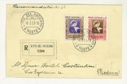 FILATELIA - CITTA´ DEL VATICANO - STORIA POSTALE - RACCOMANDATA - SANTA MARIA GORETTI  ANNO 1953 SERIE COMPLETA - Vaticaanstad