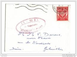 Timbre F.M  Sur Lettre P.F  Cachet 93 R.I Détachement De Frileuse - Franchise Stamps