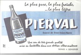 Buvard PIERVAL Source De Pont-Saint-Pierre La Plus Pure, La Plus Fraîche, ... La Plus Lègére - Alimentaire