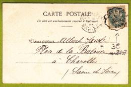 Cachet Convoyeur Ligne De Vichy à St Germain - Circulé 1903 Sur CP Vichy, Intérieur De L'établissement Thermal - Postmark Collection (Covers)
