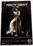 Flyer MACY GRAY Concert FRANCE Paris Trianon 20/11/2010 * Not A Ticket - Manifesti & Poster