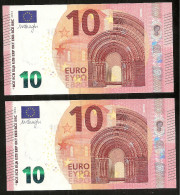 """New Issue 2014!! Lot 2 Consecutive Numbers Greece  """"Y"""" 10  EURO GEM UNC! Draghi Signature!!  """"Y""""   Printer  Y002C5! - EURO"""