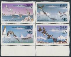 CHILE 1986, Antarcic Fauna - Antarcic Sea Birds Block Of 4v** - Antarctic Wildlife