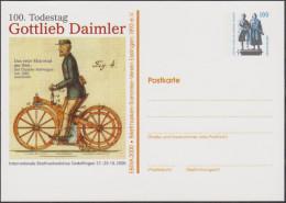 Allemagne 2000. Privatganzsache, Entier Postal Timbré Sur Commande. Gottlieb Daimler, Première Moto Au Monde 1885 - Motos