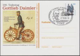 Allemagne 2000. Privatganzsache, Entier Postal Timbré Sur Commande. Gottlieb Daimler, Première Moto Au Monde 1885 - Moto
