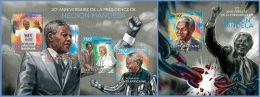 ca14321ab Central African 2014 Nobel Prize Nelson Mandela 2 s/s