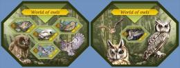 slm14408ab Solomon Is. 2014 World of Owls 2 s/s