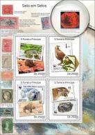 st14318a S.Tome Principe 2014 Stamp on Stamp SOS s/s WWF Motorbike