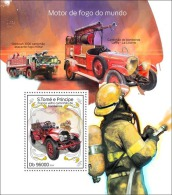st14310b S.Tome Principe 2014 Fire engines s/s