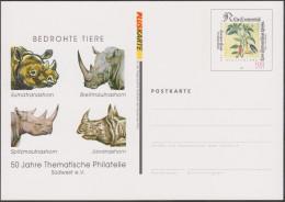 Allemagne 2001. Privatganzsache, Entier Postal Timbré Sur Commande. Rhinocéros, Espèce Menacée - Rhinozerosse