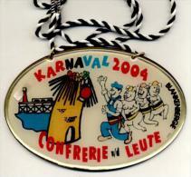 Blankenberge - Karnaval 2004 - Confrerie Van De Leute - Plaquette In Goudkleurig Metaal - Carnaval