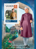 slm14301b Solomon Is. 2014 Jawaharlal Nehru Mahatma Gandhi s/s Elephant Peacock