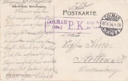 CP Datée De Winzenheim Du 30.8.14 Avec TàD COLMAR 31.8.14 Et Cachet De Censure De COLMAR Adressée à Wintzenheim - WW I