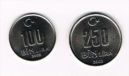 ¨¨ TURKIJE  100 En 250  BIN  LIRA  2002 - Turquia