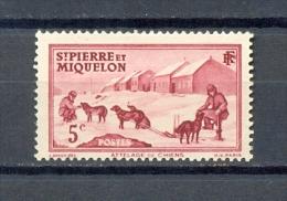 ST PIERRE & MIQUELON 1v 1938 5c DOGS DOG SLED POLAR * MH - St.Pierre & Miquelon