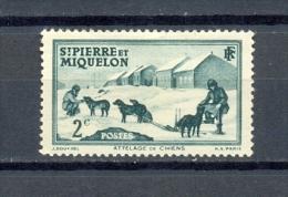 ST PIERRE & MIQUELON 1v 1938 2c DOGS DOG SLED POLAR * MH - St.Pierre Et Miquelon