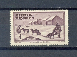 ST PIERRE & MIQUELON 1v 1938 4c DOGS DOG SLED POLAR * MNH - St.Pierre & Miquelon