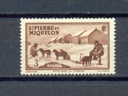 ST PIERRE & MIQUELON 1v 1938 3c DOGS DOG SLED POLAR * MH - St.Pierre & Miquelon