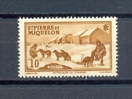 ST PIERRE & MIQUELON 1v 1938 15c DOGS DOG SLED POLAR * MNH - St.Pierre & Miquelon
